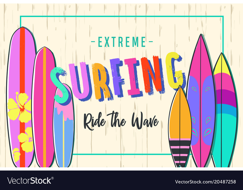 Surfing poster set of surfboards