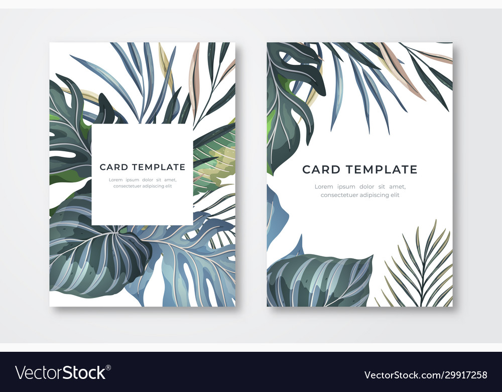 Tropical leaves card template