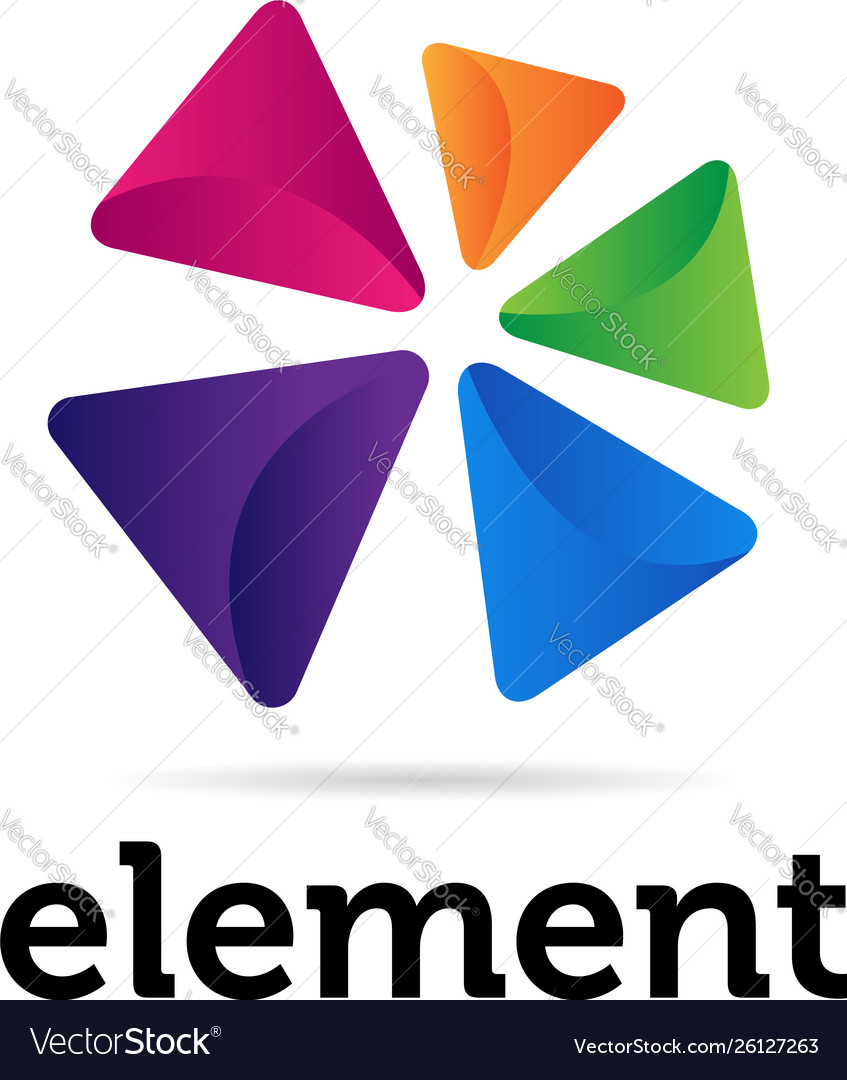 Abstract colorful triangular shapes logo sign