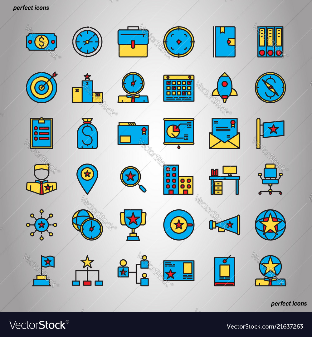 Business management color line icons perfect pixel