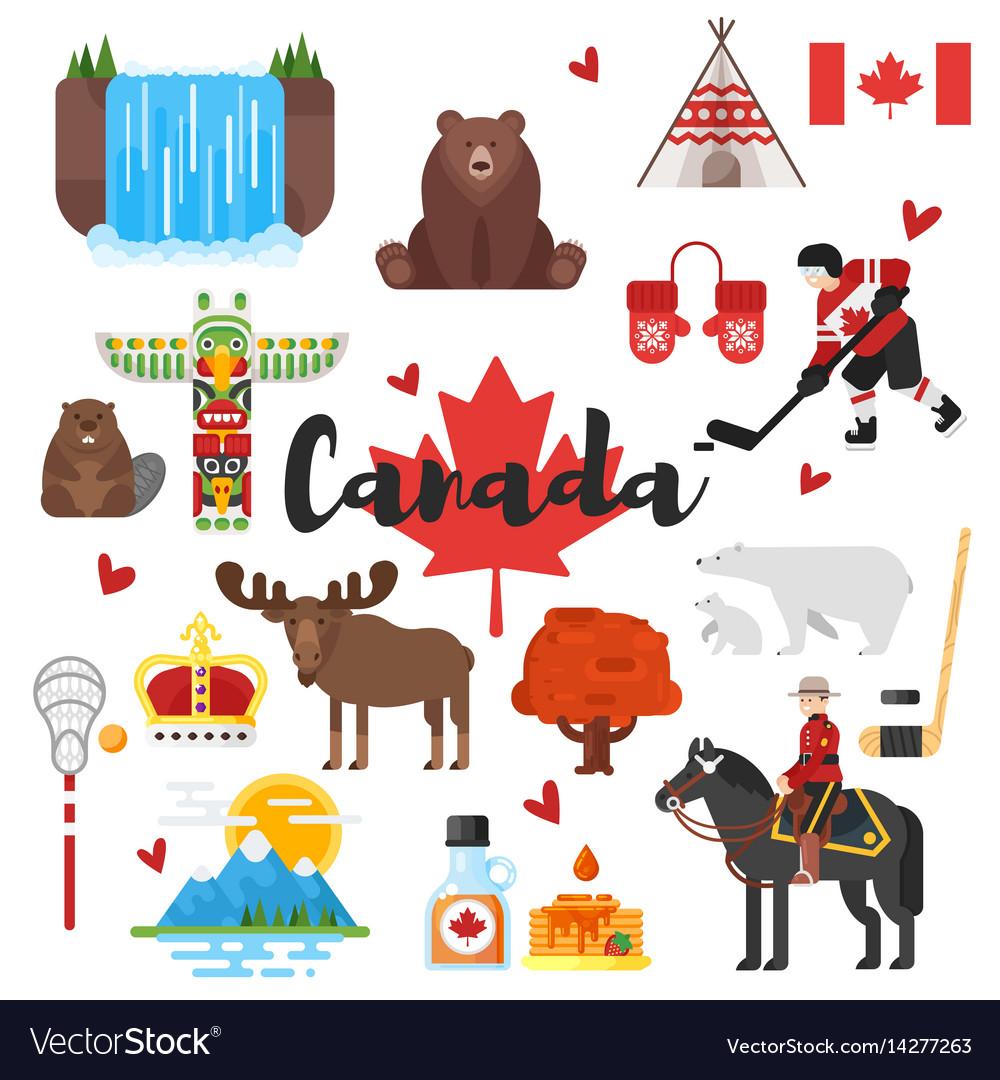 Canadian National Cultural Symbols Royalty Free Vector Image