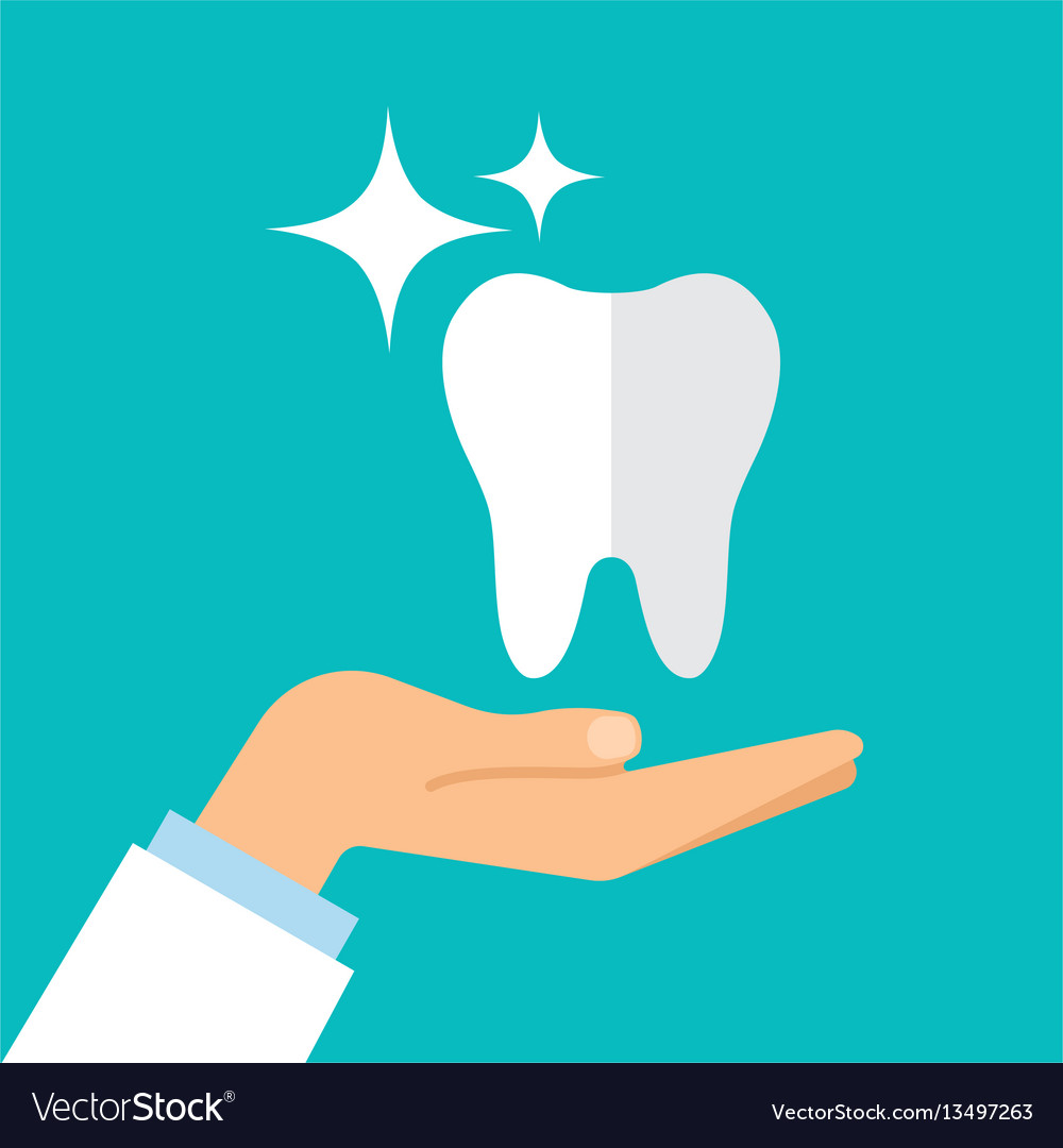 Cartoon doctor hand and healthy tooth