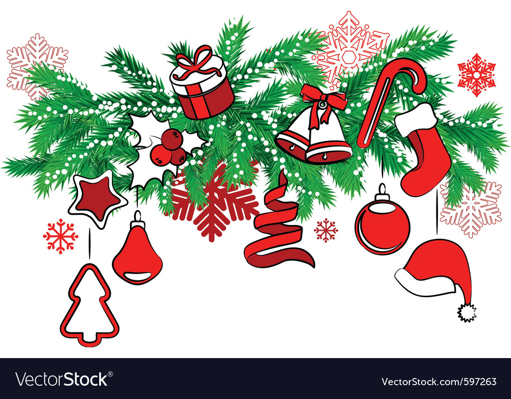 christmas decoration on tree branch vector image