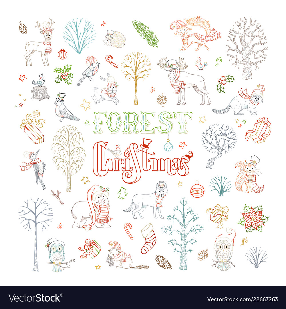 Doodles forest christmas set