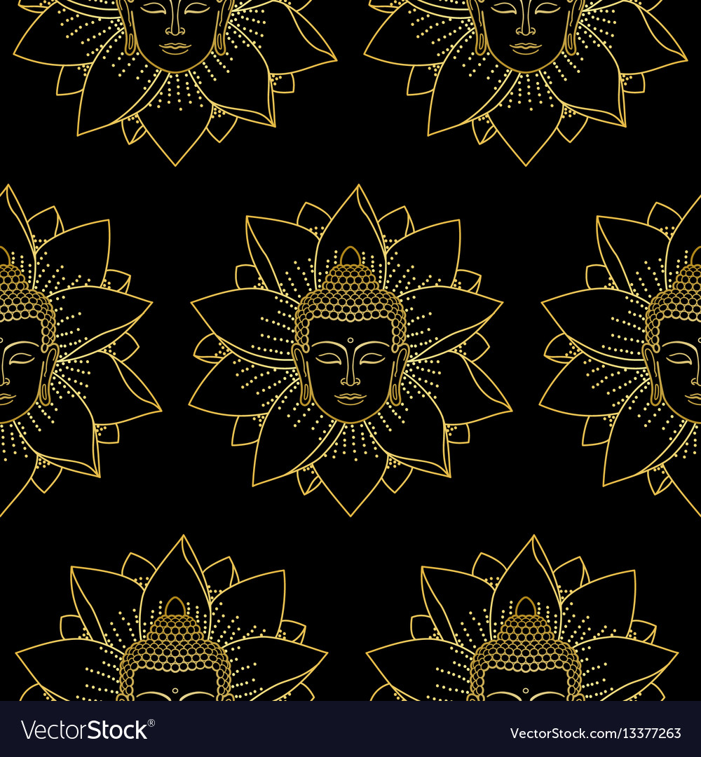 Gold buddha and lotus seamless pattern vector image