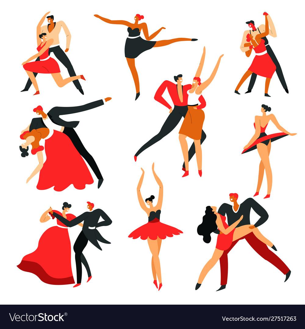 Men and women dancing ballroom and latin american