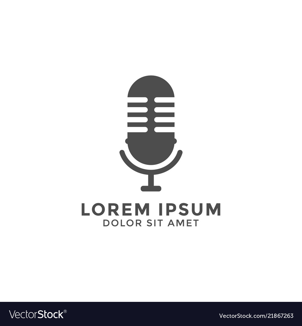 Microphone logo icon design template