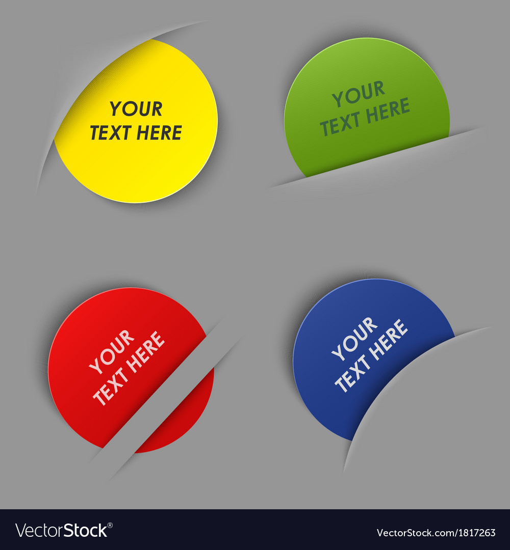 Set of colorful round labels in your pocket vector image