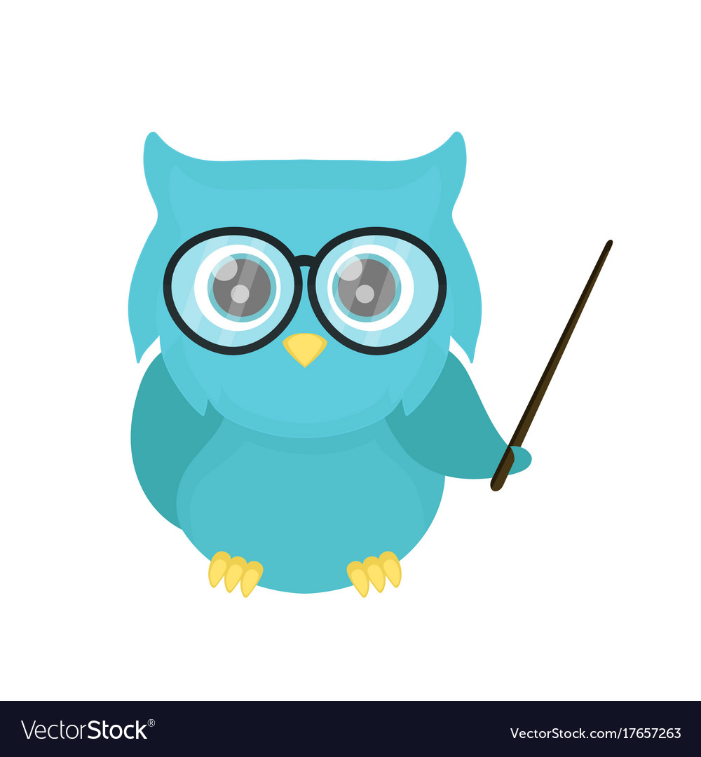 Smart owl teacher with a pointer Royalty Free Vector Image