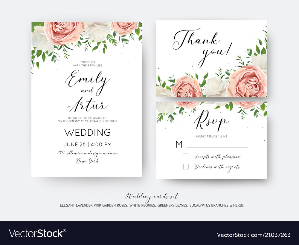 Wedding floral invite rsvp thank you card set