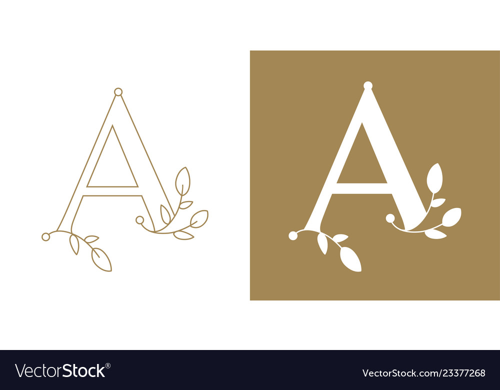 Capital letter a ornamented with decorative