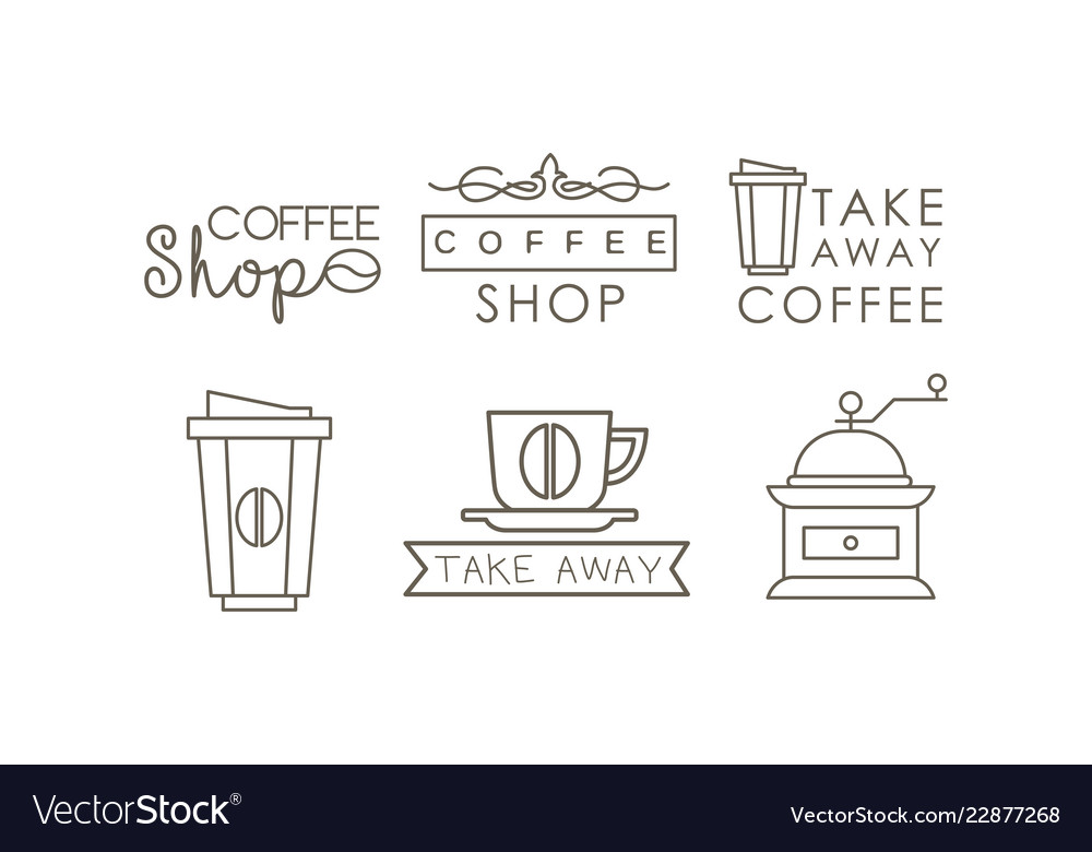 Coffee line icons set takeaway coffee cup