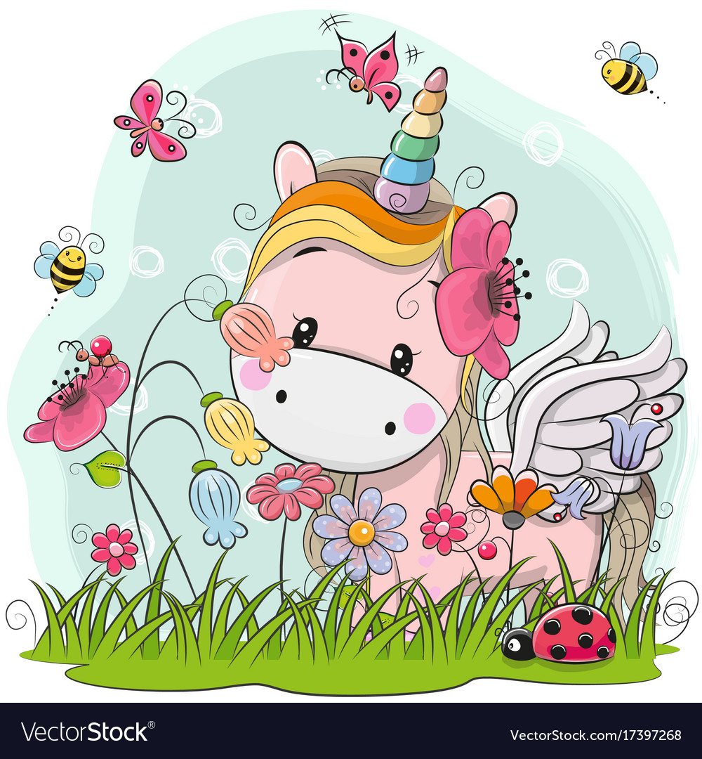 Cute cartoon unicorn on a meadow