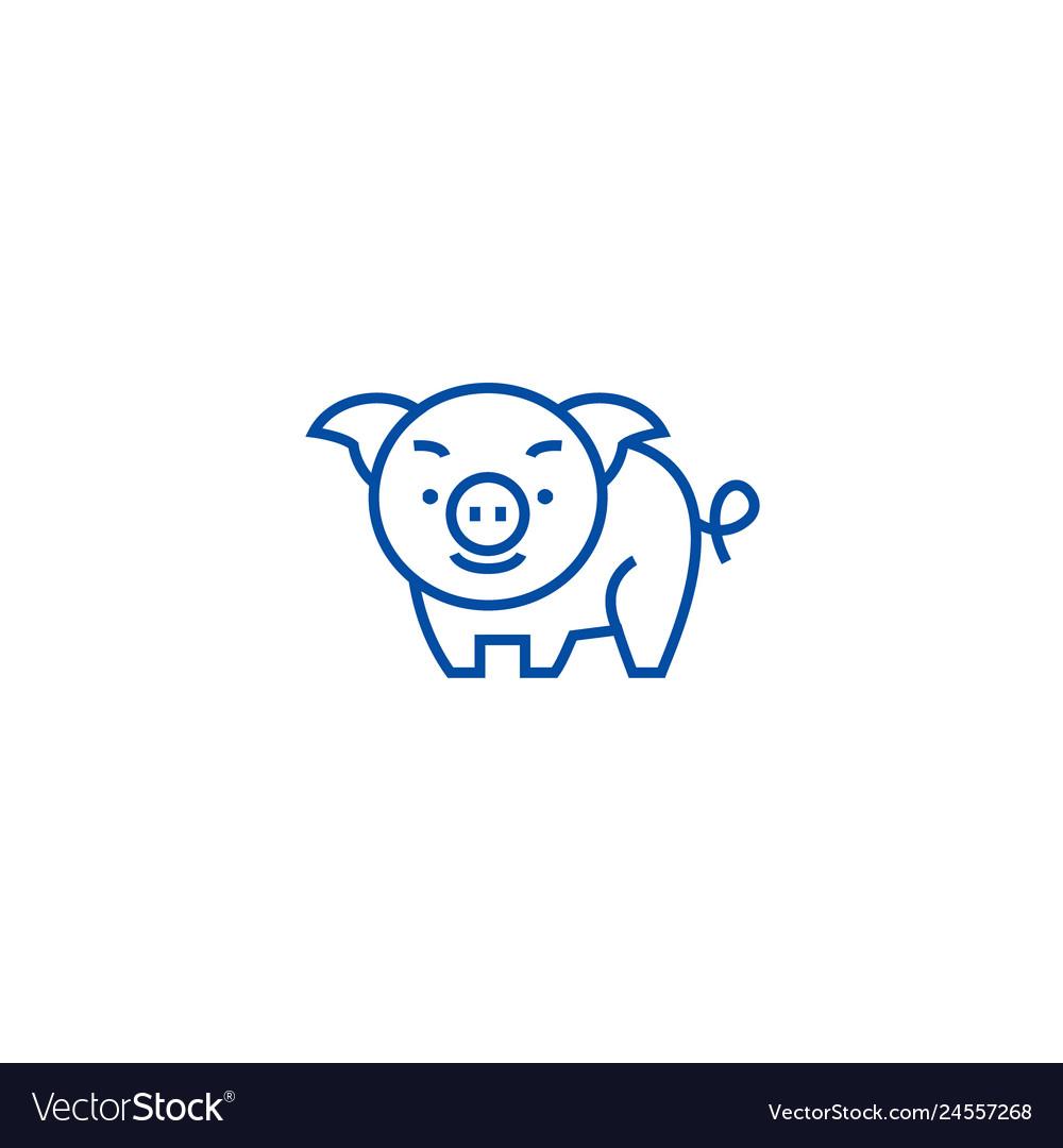Cute pig line icon concept cute pig flat