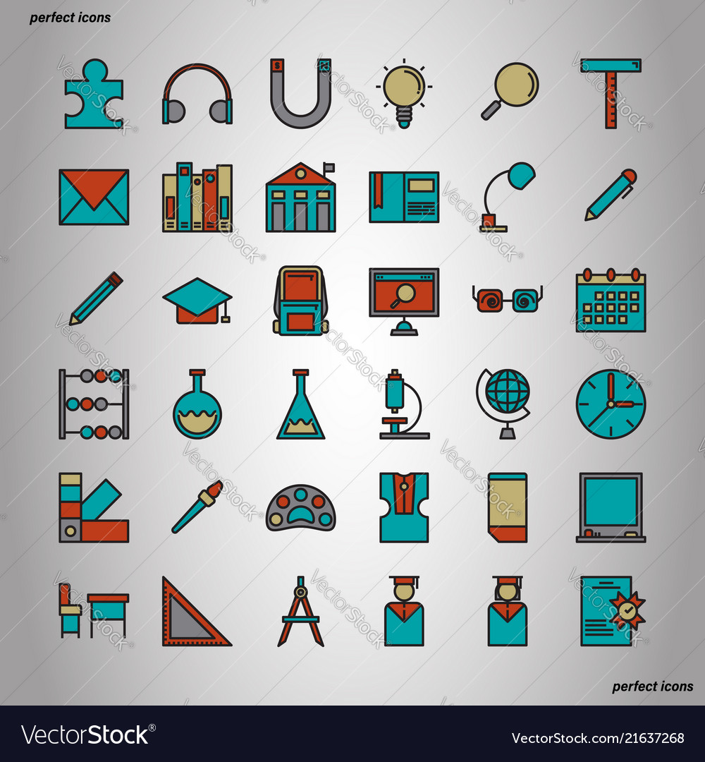 Education and learning color line icons perfect