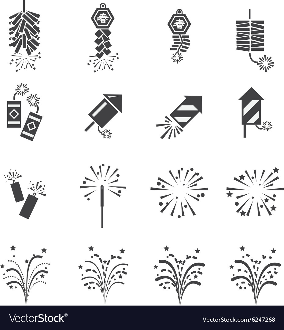Firework icon set vector image