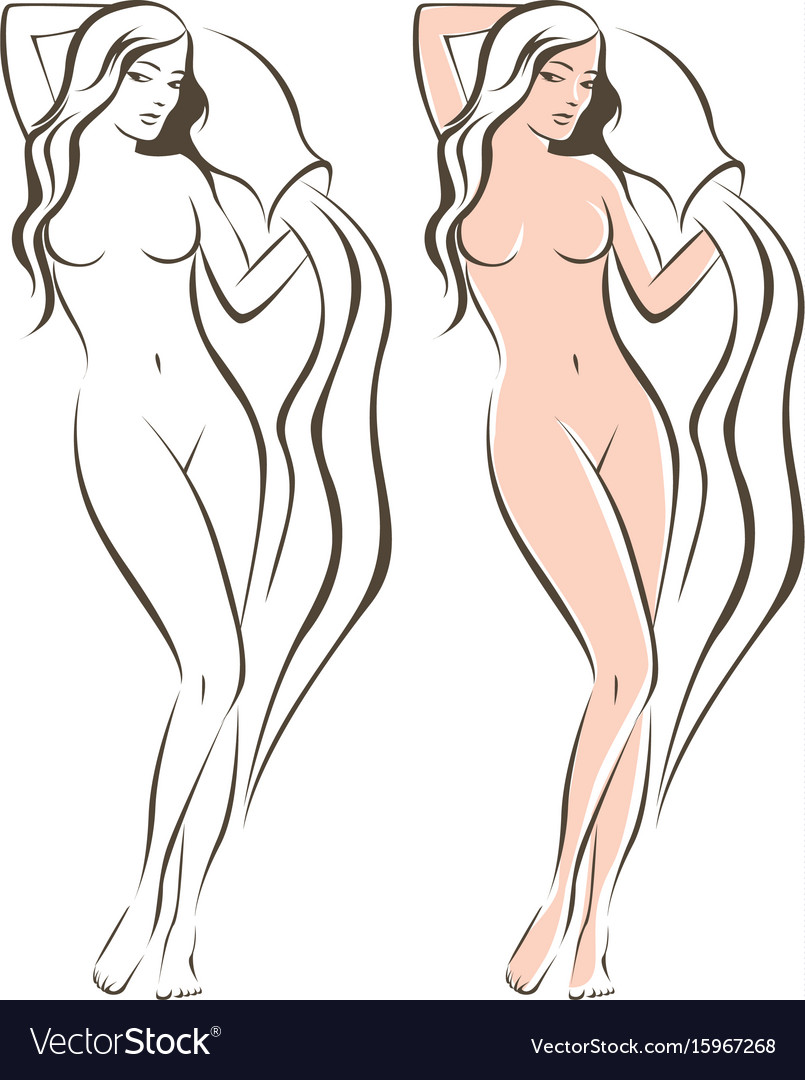 Nude female with amphora vector image