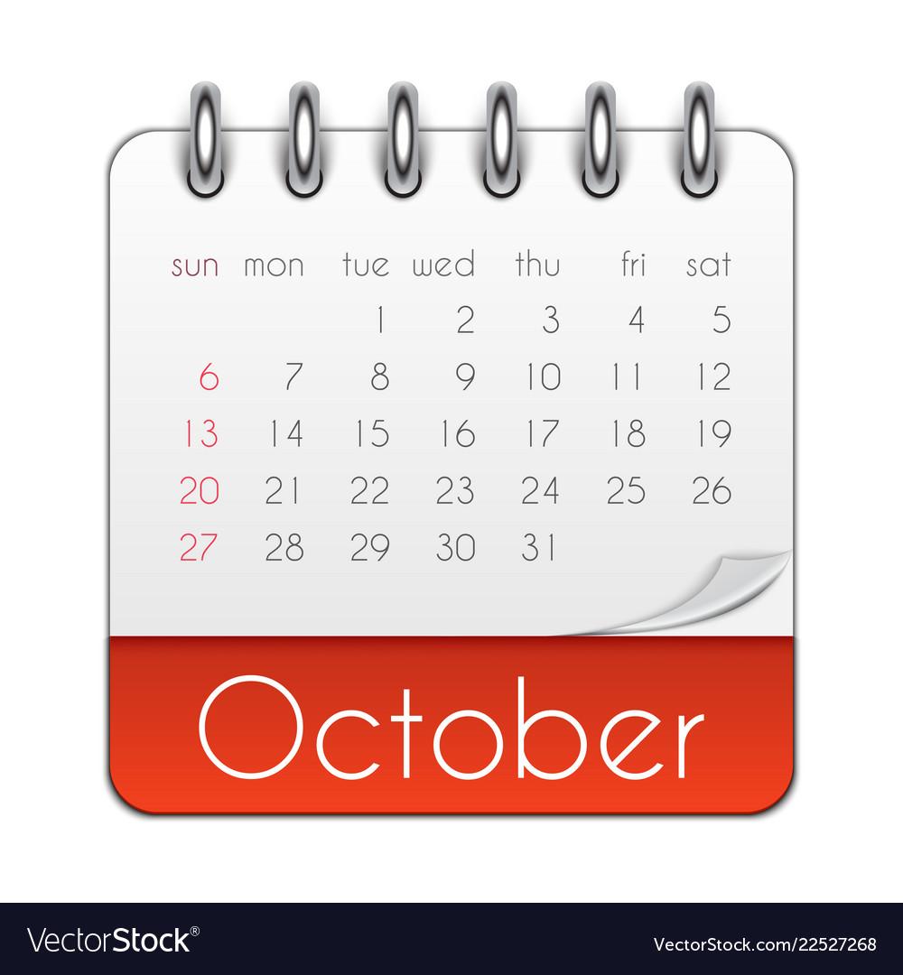 October Calendar 2019.October 2019 Calendar Leaf Template