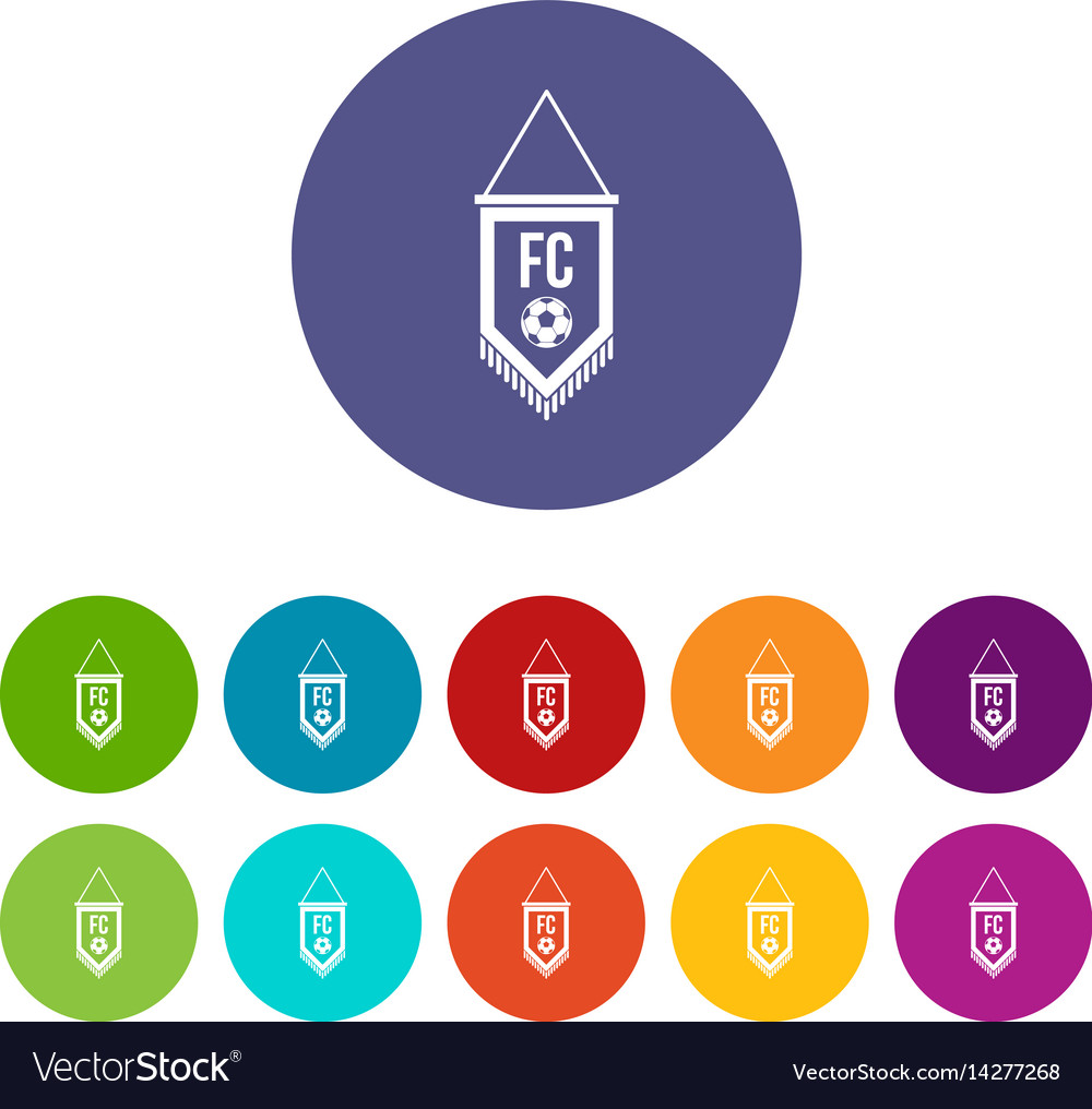 Pennant with soccer ball icons set flat vector image
