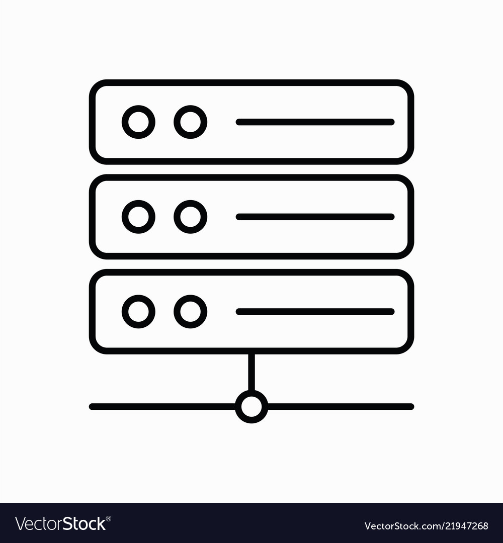 Server icon with line style and white background