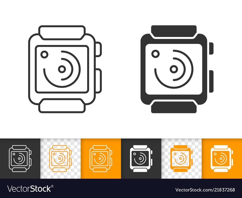 Smart watch simple black line icon