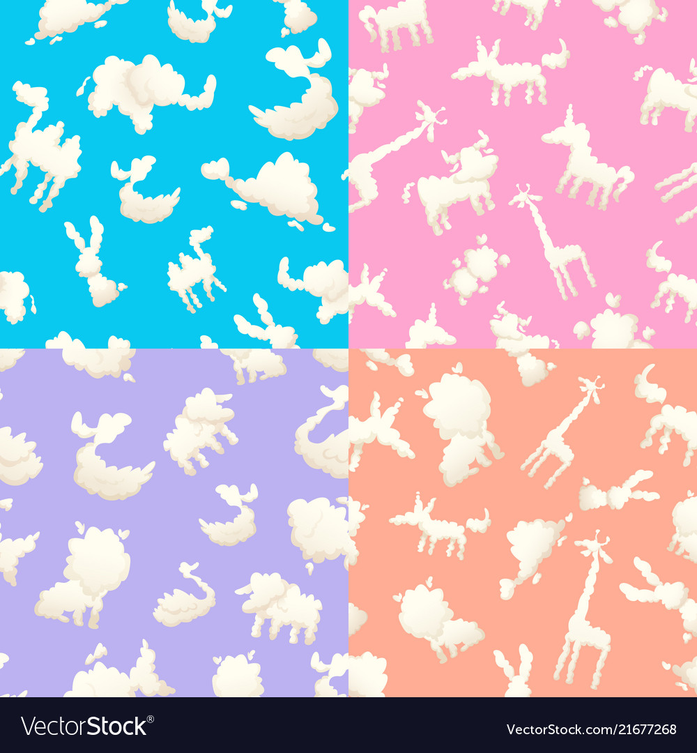 Weather patterns with clouds seamless patterns