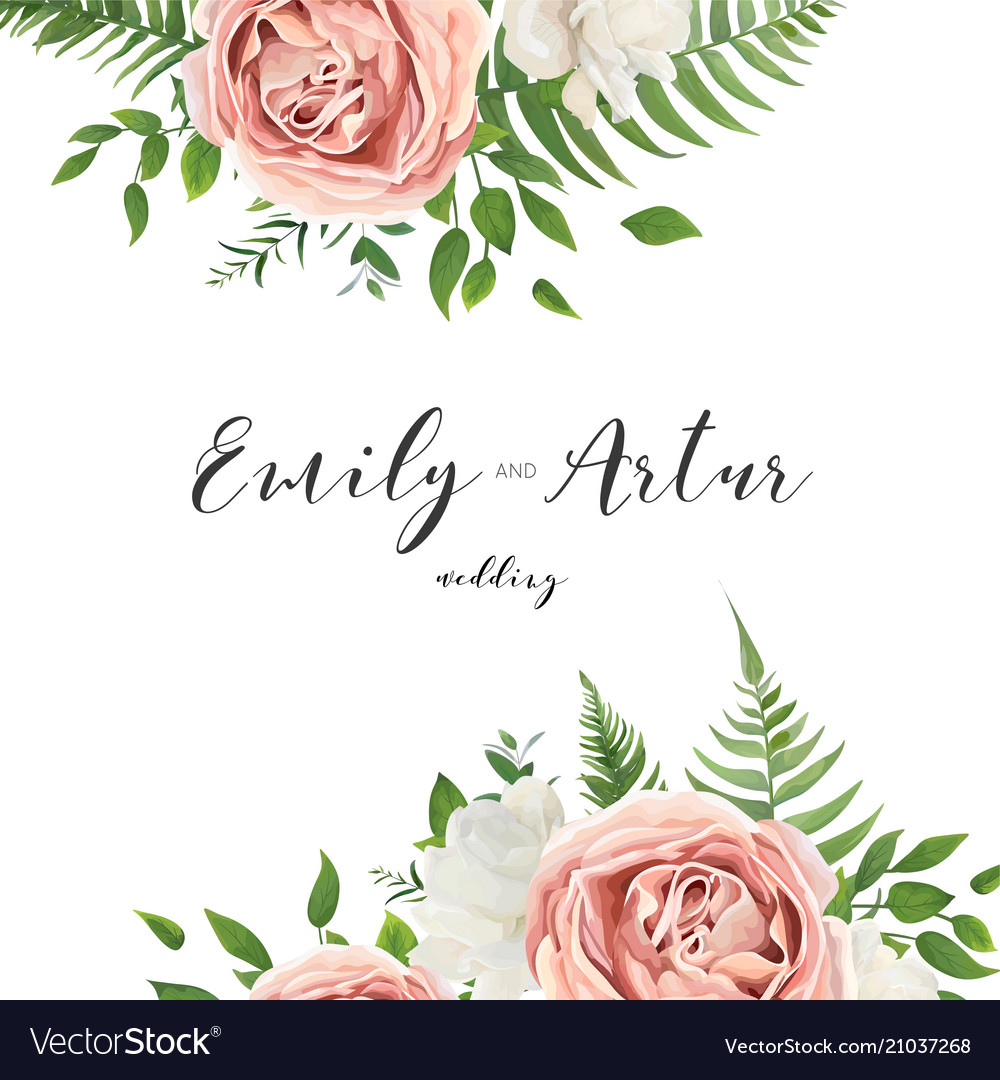 Wedding invitation floral invite card with flowers