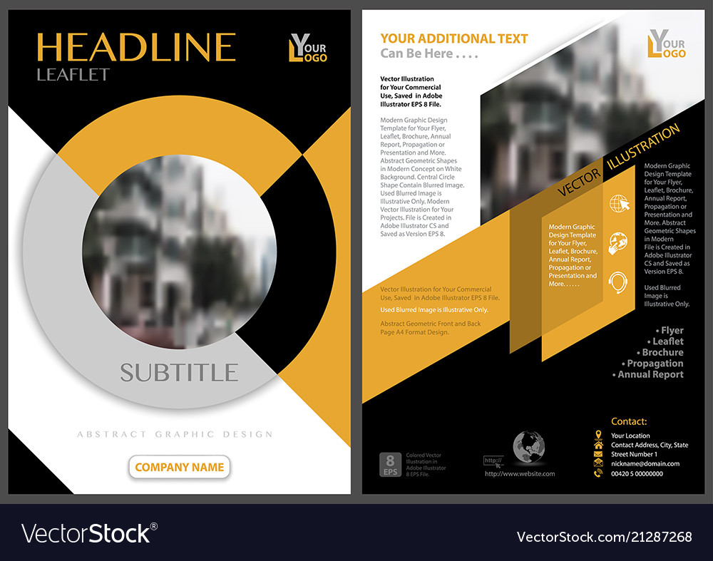 Yellow Black Flyer Template With Circle Shape Vector Image