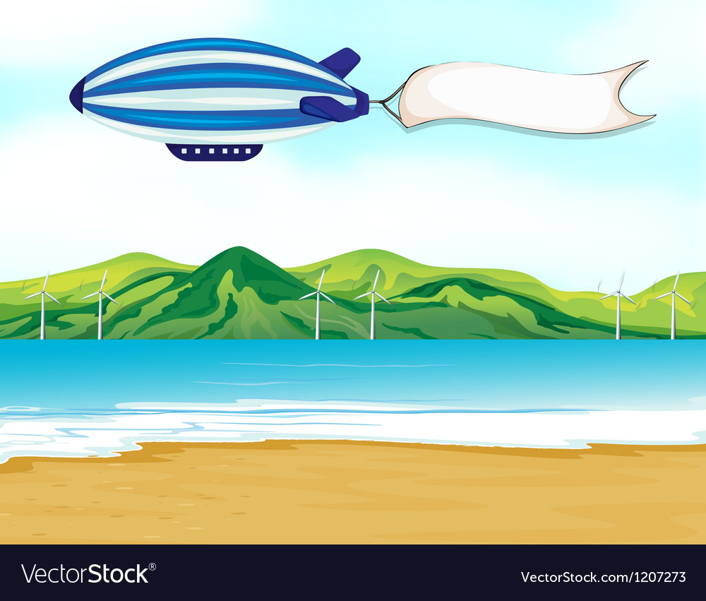 A stripe airship with a white banner vector image