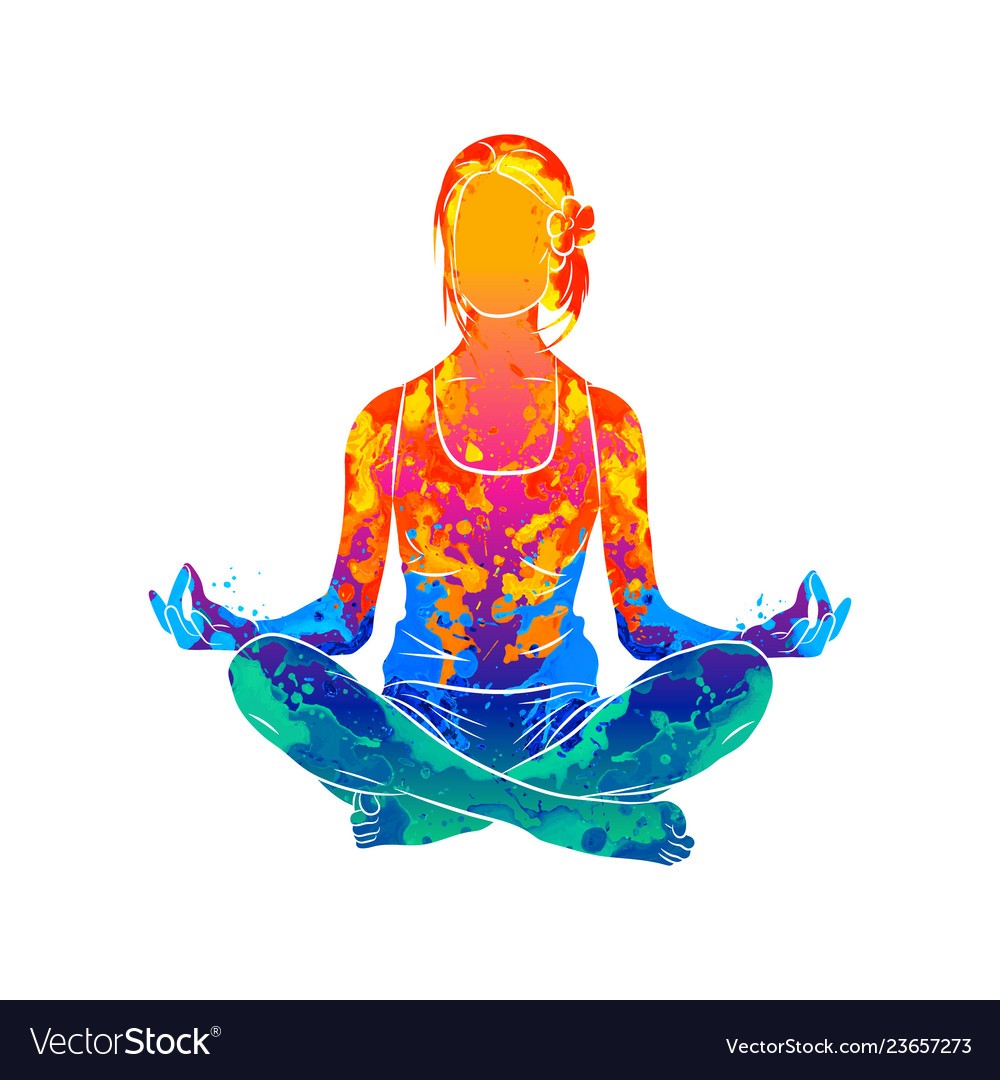 Abstract woman meditating from splash of
