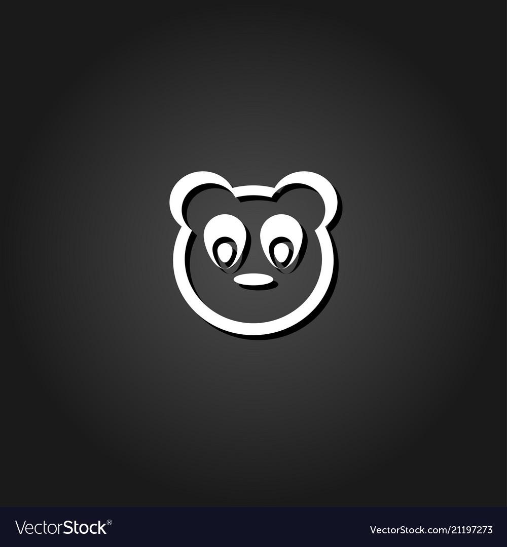 Baby panda face icon flat