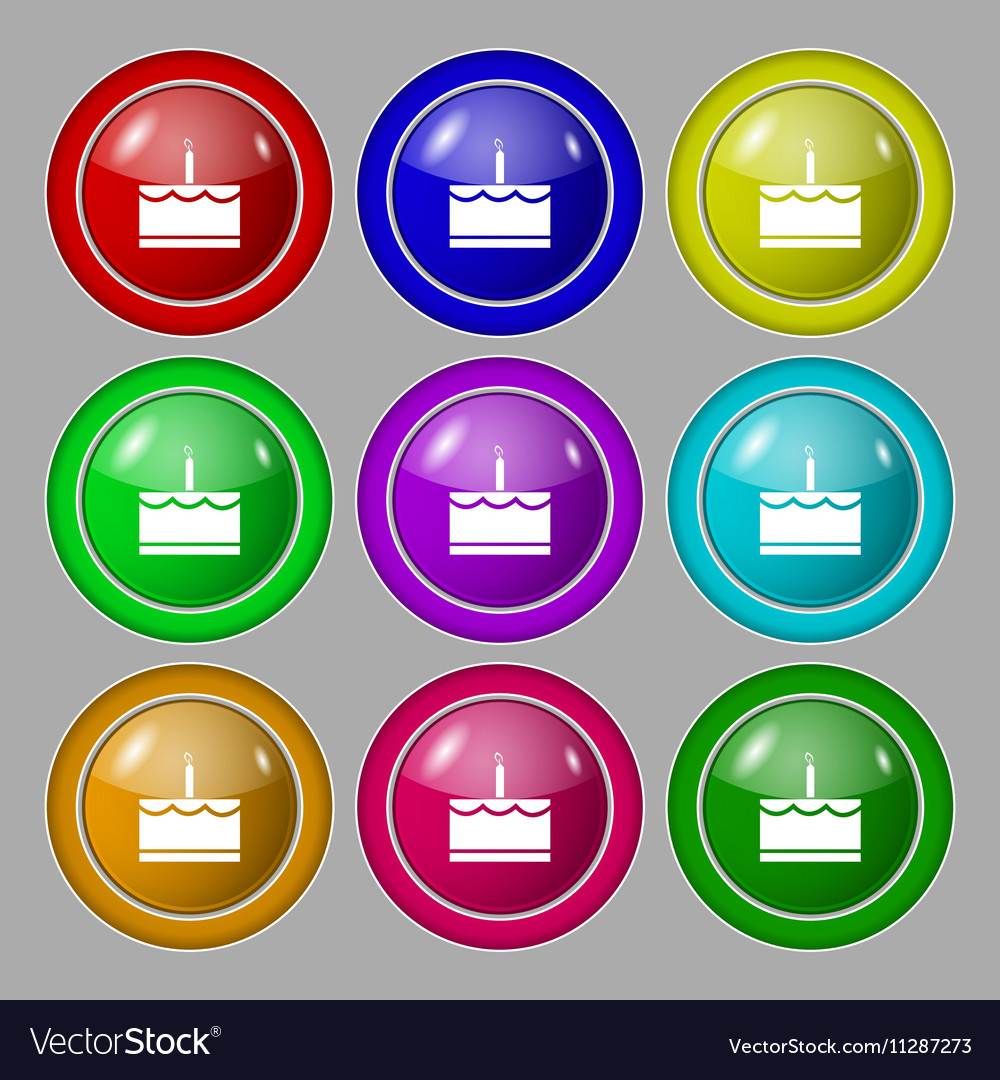 Birthday cake icon sign symbol on nine round