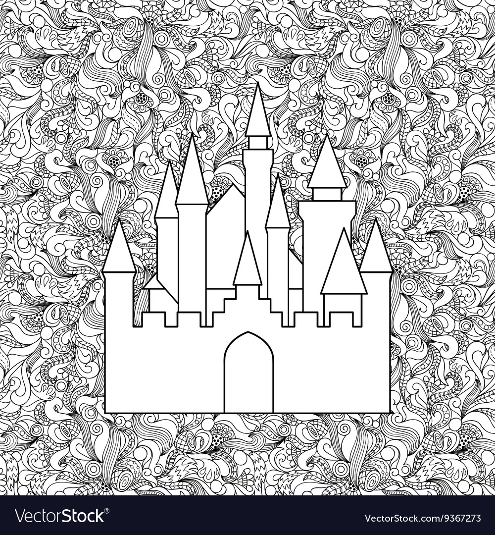 Castle on seamless doodle background
