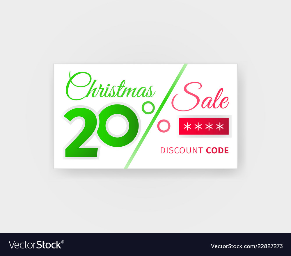 Christmas Sale 20 Percent Discount Coupon Vector Image