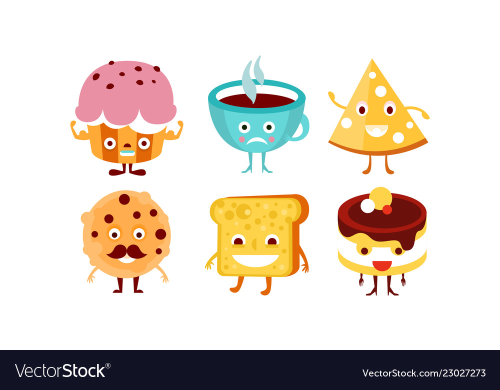 Flat set of funny food and drink characters