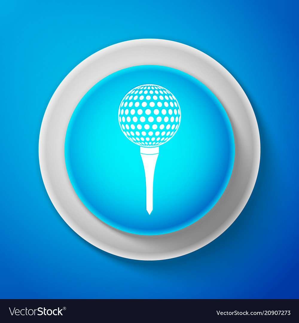 Golf ball on tee icon isolated on blue background