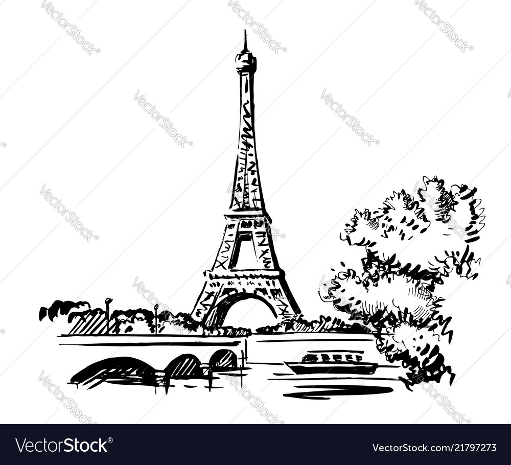 Hand draw eiffel tower