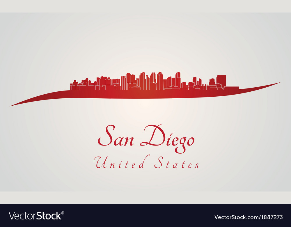San Diego skyline in red