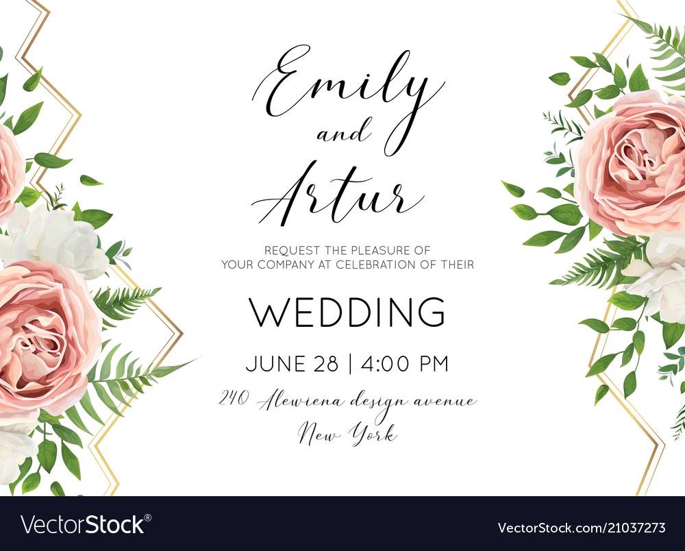 Wedding floral modern invite invtation card design