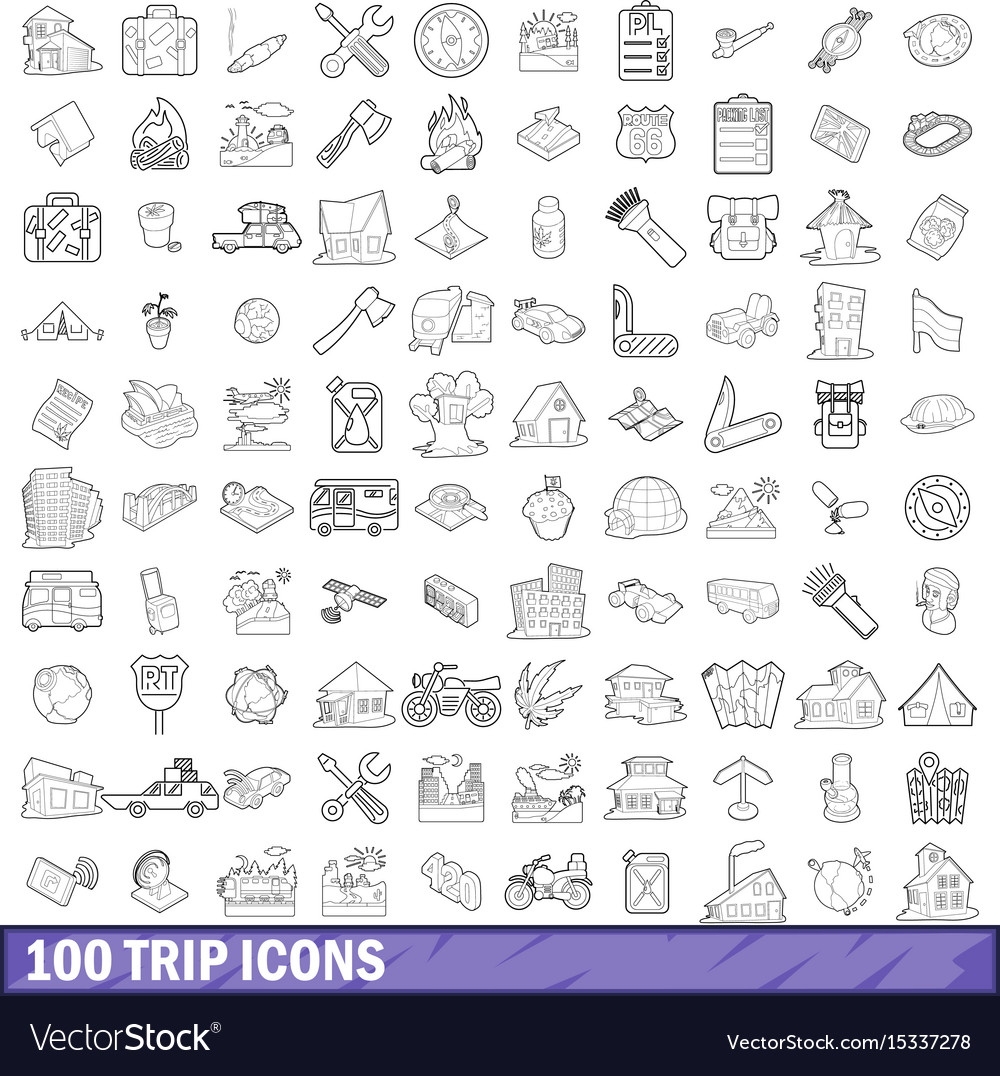 100 trip icons set outline style