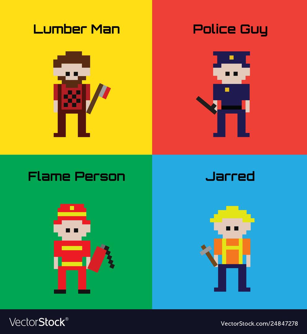 16-bit cartoon worker characters