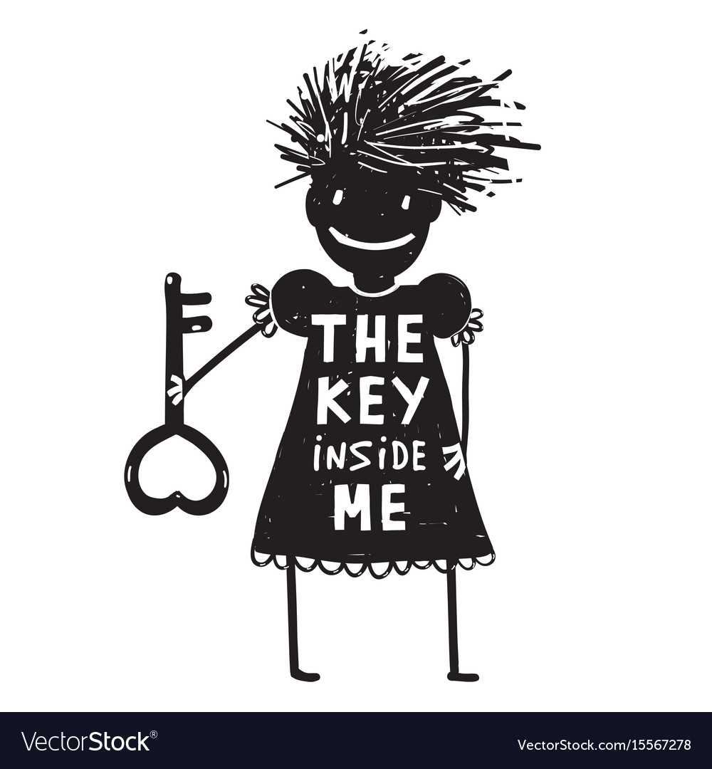 Girl with key cartoon