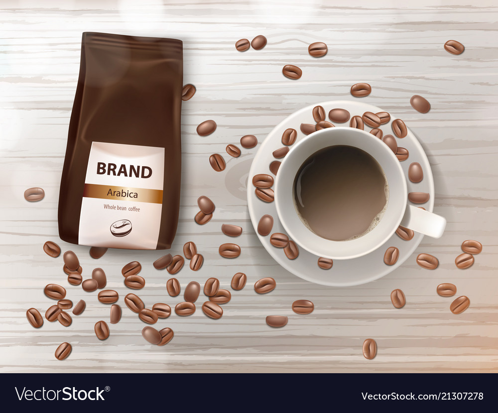Promotion banner with coffee cup and beans