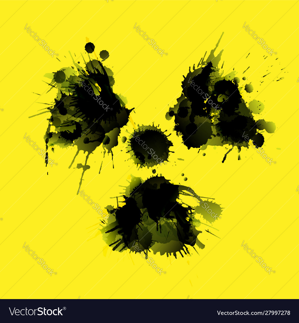 Radioactivity danger sign made grunge splashes
