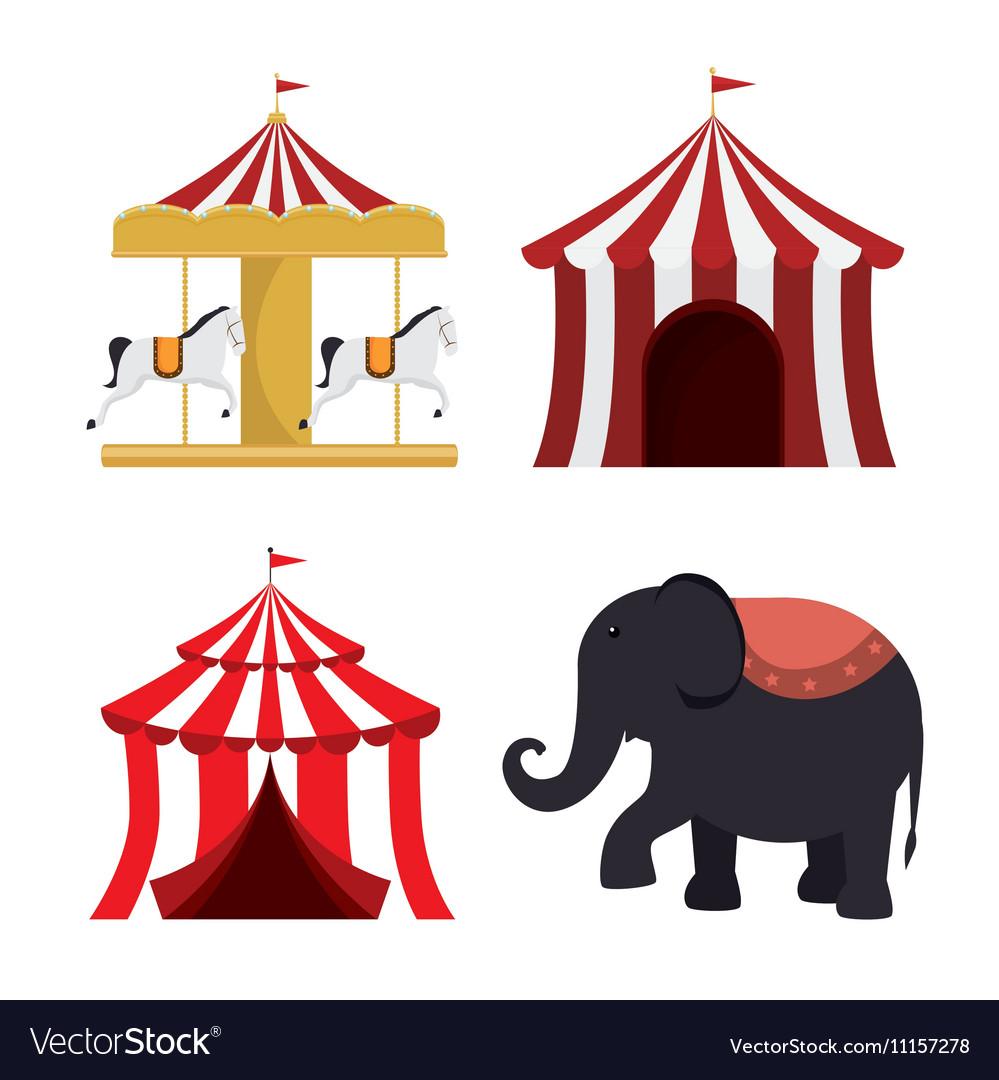 Set circus elements festival entertainment
