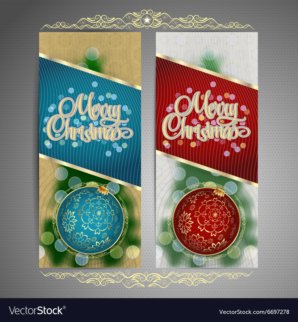 Set of cards with Christmas BALL tree and garland