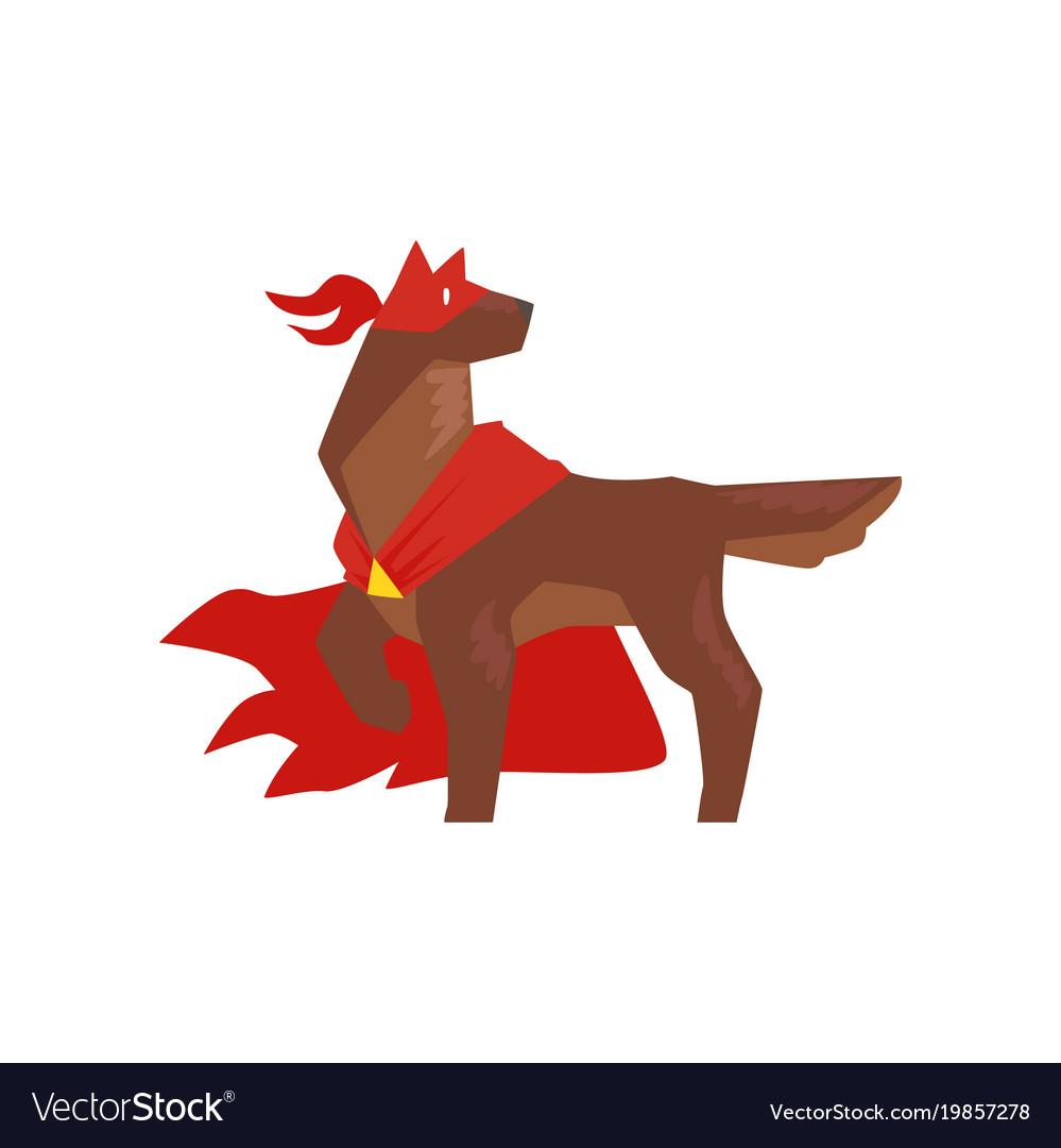 Superhero dog character standing in heroic pose