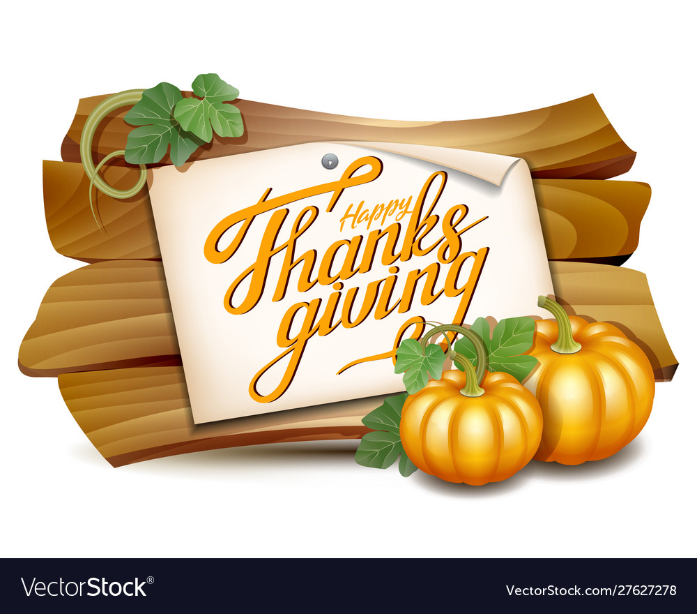Thanksgiving card with wooden banner and pumpkins