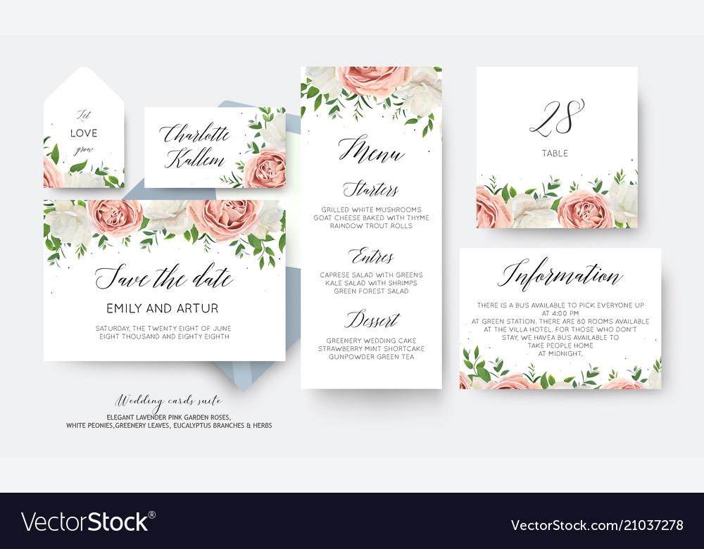 Wedding floral save date menu label cards