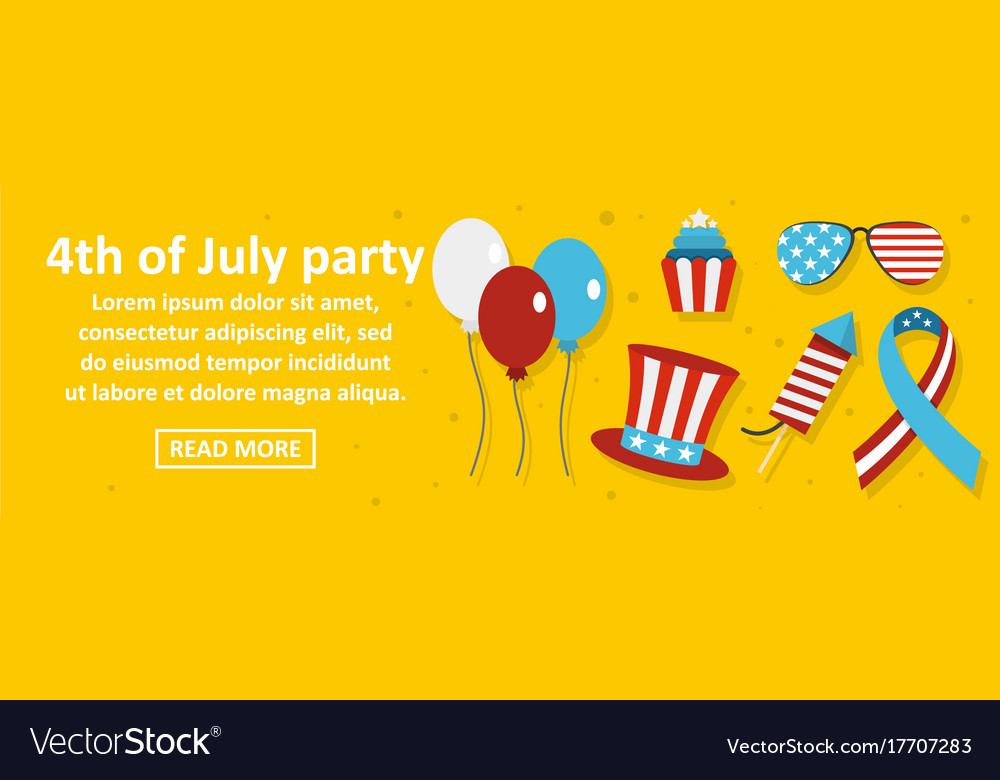 4th of july party banner horizontal concept